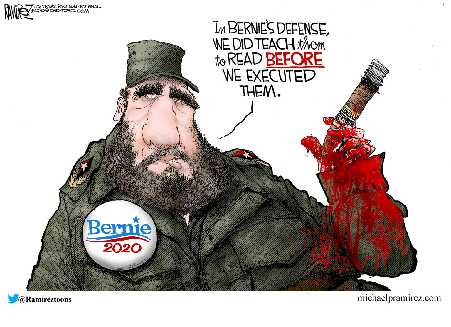 """Castro wearing a Bernie 2020 button saying, """"In Bernie's Defense we did teach them to read before we executed them."""""""