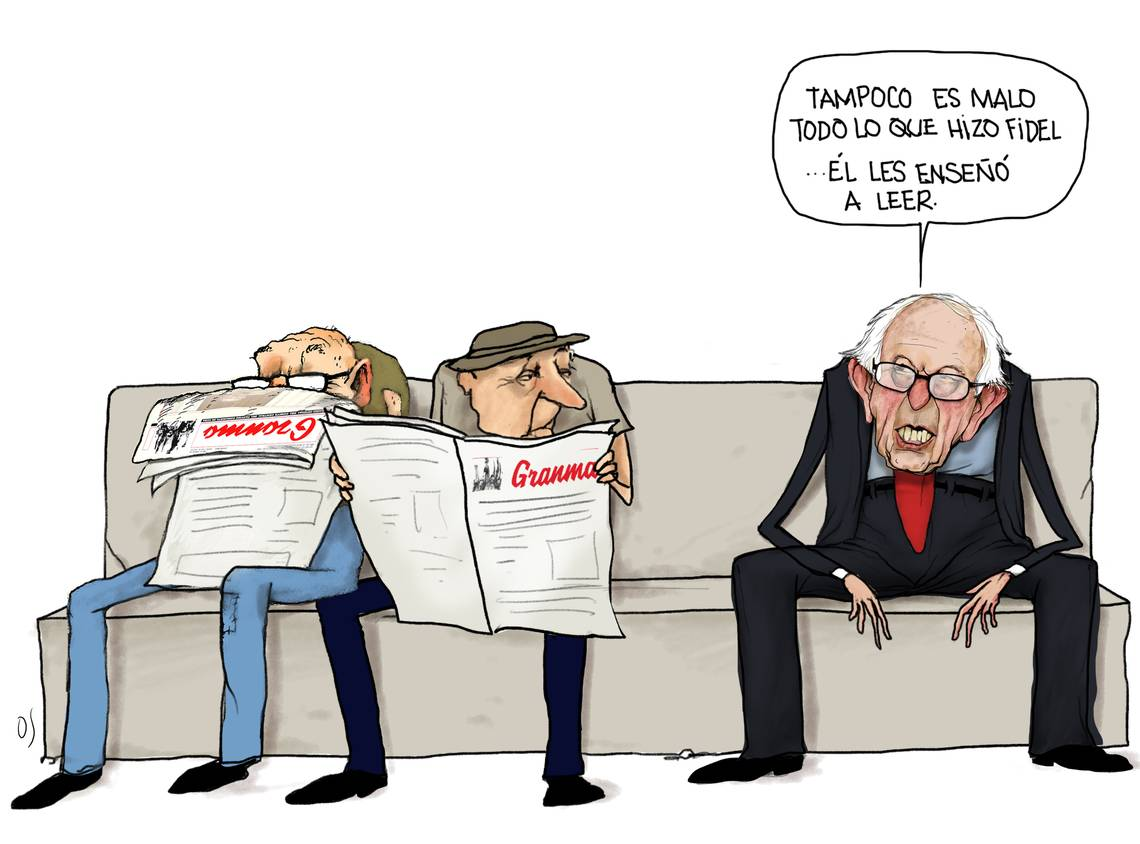 Bernie's quote in Spanish, with 2 older Cuban men reading